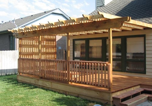 Wooden Deck With Steps Rail Latice Sides And Pergola