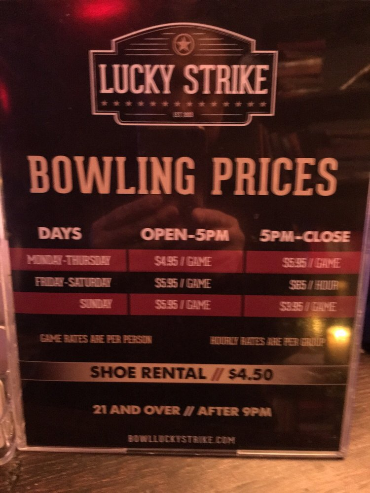 Bowling prices - Yelp