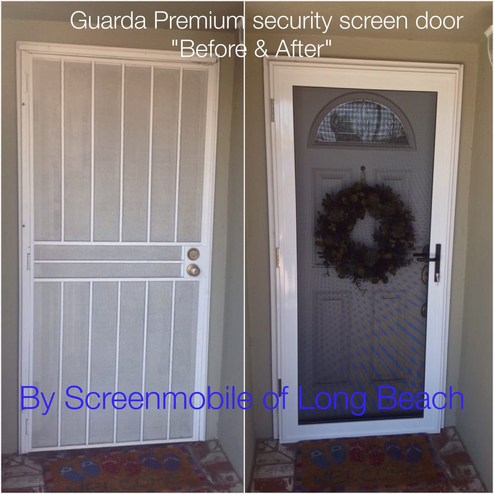 Inside looking out, CRL tan security screen door in Long Beach, Ca ...