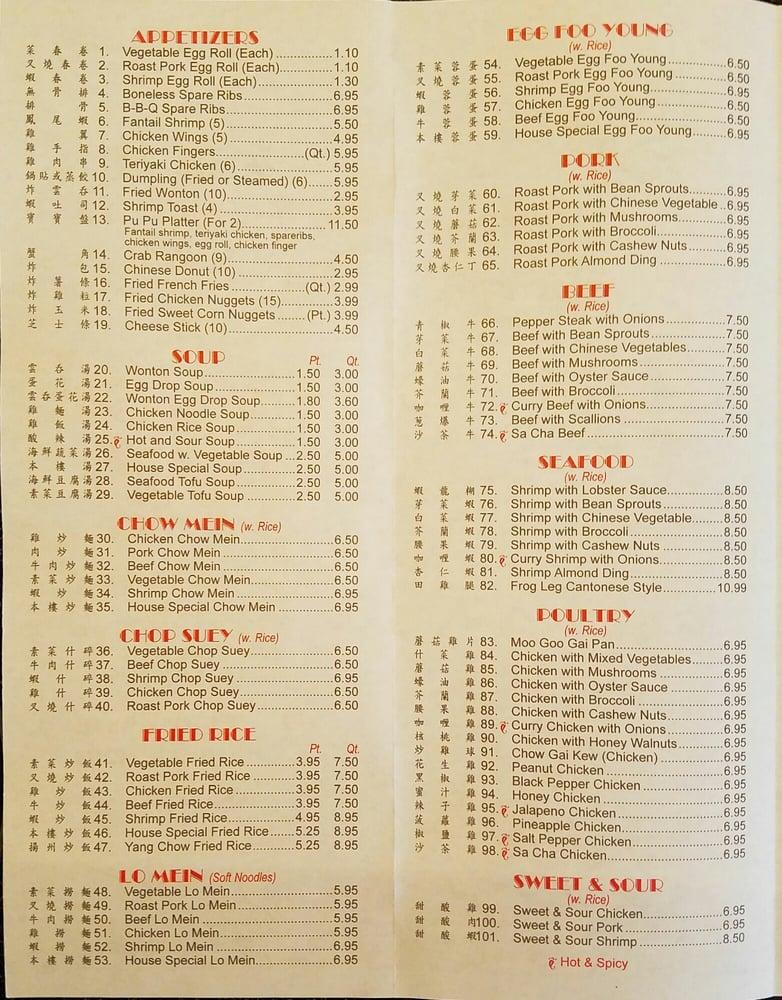 china new star menu
