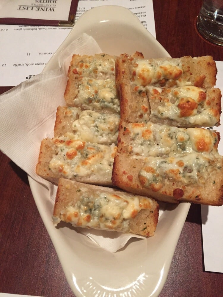 Blue Cheese Garlic Bread Held Us Over Until The Pork Chop