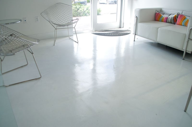 White glossy micro topping on lci distributors offices yelp for Perfect concrete floors