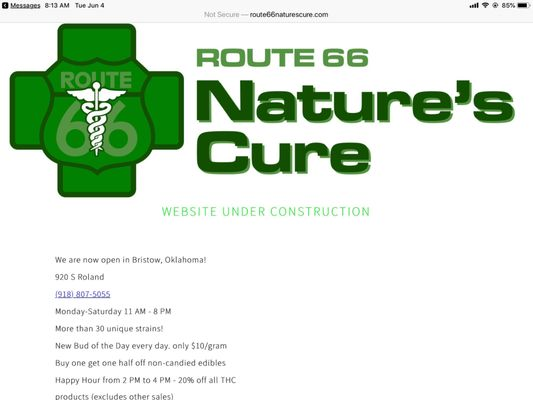 Route 66 Nature's Cure 920 S Roland St Bristow, OK Marijuana