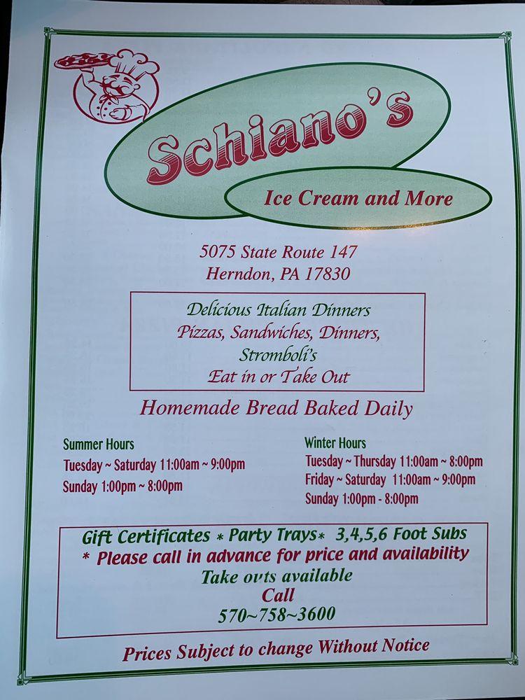 Schiano Pizza Ice Cream & More: 5075 State Rte 147, Herndon, PA