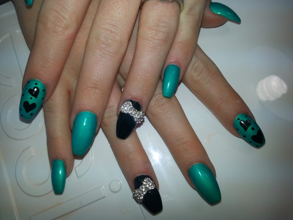 Coffin shaped nails with 3d bling bows and hearts nail art - Yelp