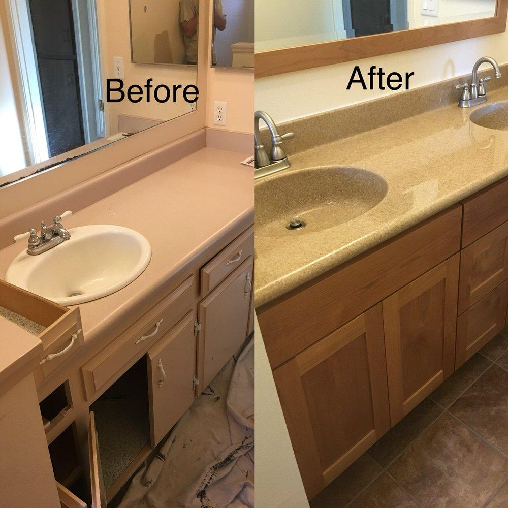 Bathroom Remodel Additional Sink In The New Granitex Countertop As - Bathroom remodel turlock ca