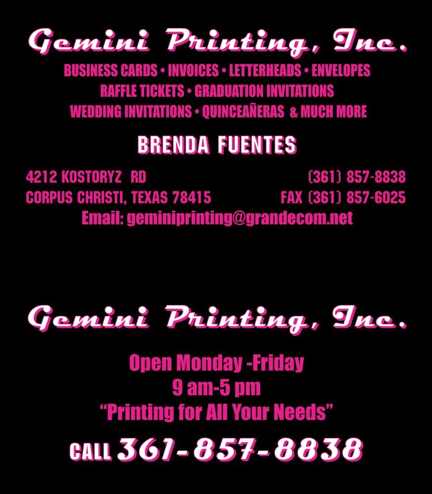 Gemini printing printing services 4212 kostoryz rd corpus gemini printing printing services 4212 kostoryz rd corpus christi tx phone number yelp colourmoves Image collections