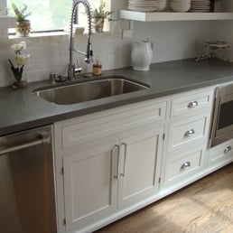 Quartz Countertops Near Me : ... Shaker with inset doors and concrete gray quartz countertop - Yelp