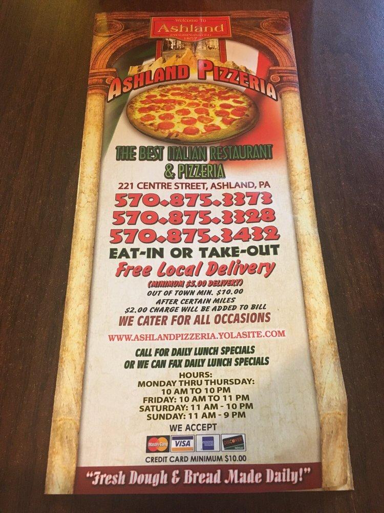 Ashland Pizzeria: 221 W Centre St, Ashland, PA