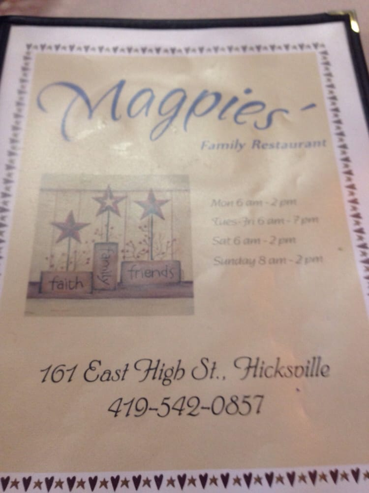 Magpie's Family Restaurant: 161 E High St, Hicksville, OH