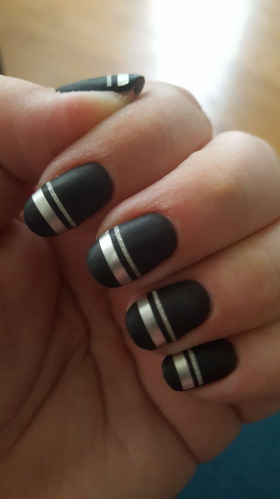 Matte black nails with silver and silver glitter taping. - Yelp
