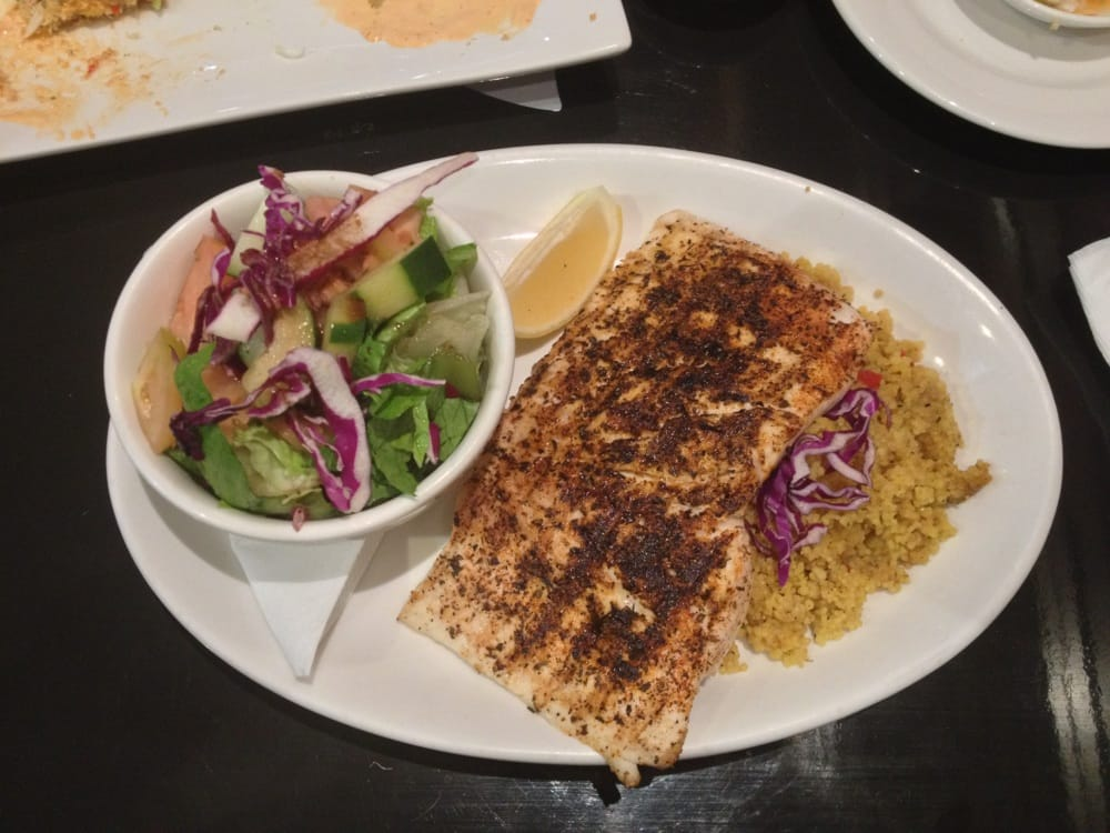 Cajun mahi mahi with couscous and side salad yelp for Bluesalt fish grill