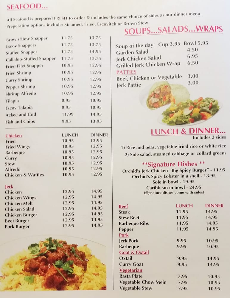 restaurant menu samples
