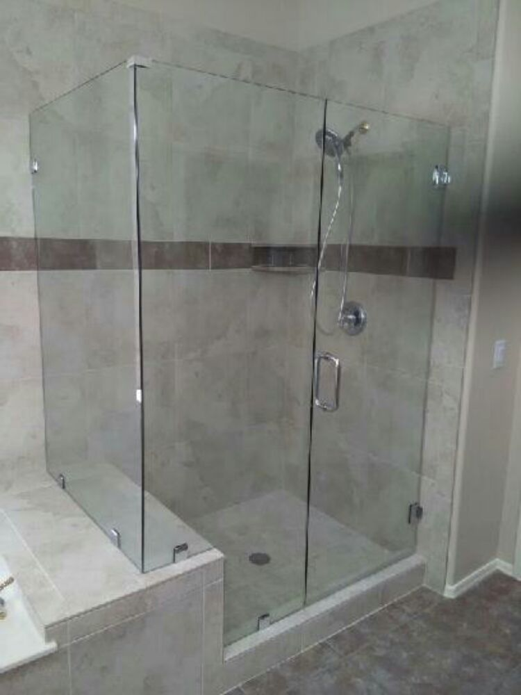 3 8 quot clear glass shower emclosure with chrome hardware yelp 87740