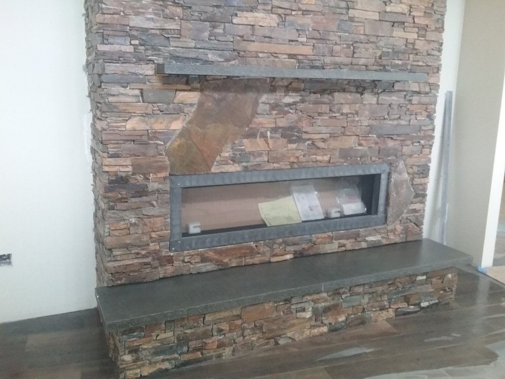 Gas fireplace with multi color dry stacked stone black for Craftsman gas fireplace