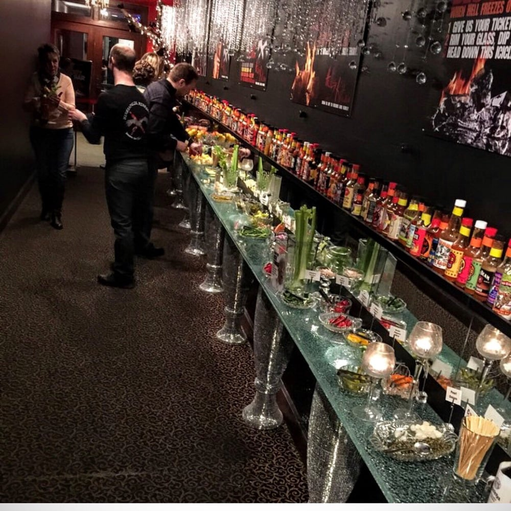The Bloody Mary bar at Hells Kitchen awesome Yelp