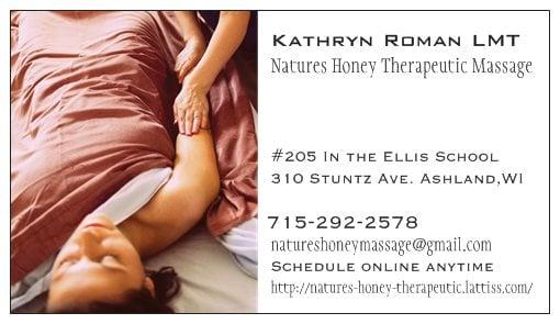 Nature's Honey Therapeutic Massage: 208 3rd Ave E, Ashland, WI
