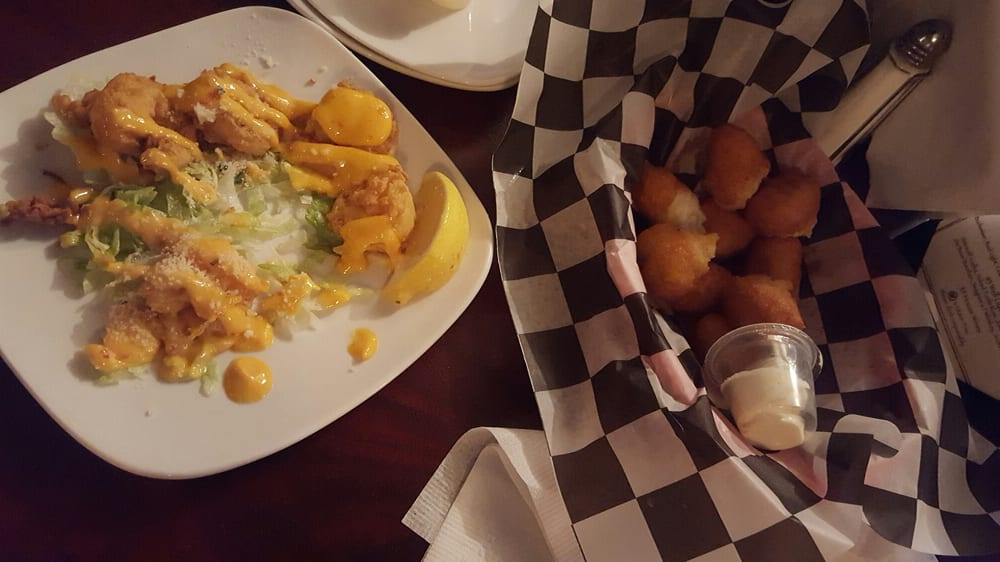 Complimentary hush puppies w butter and boom boom shrimp for Mr fish seafood restaurant