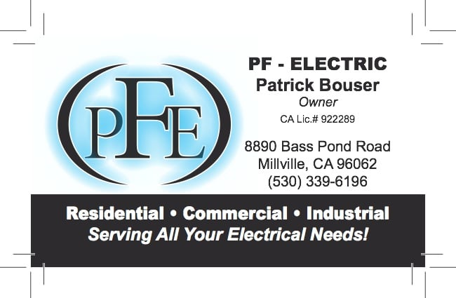 PF Electric: 8890 Bass Pond Rd, Millville, CA