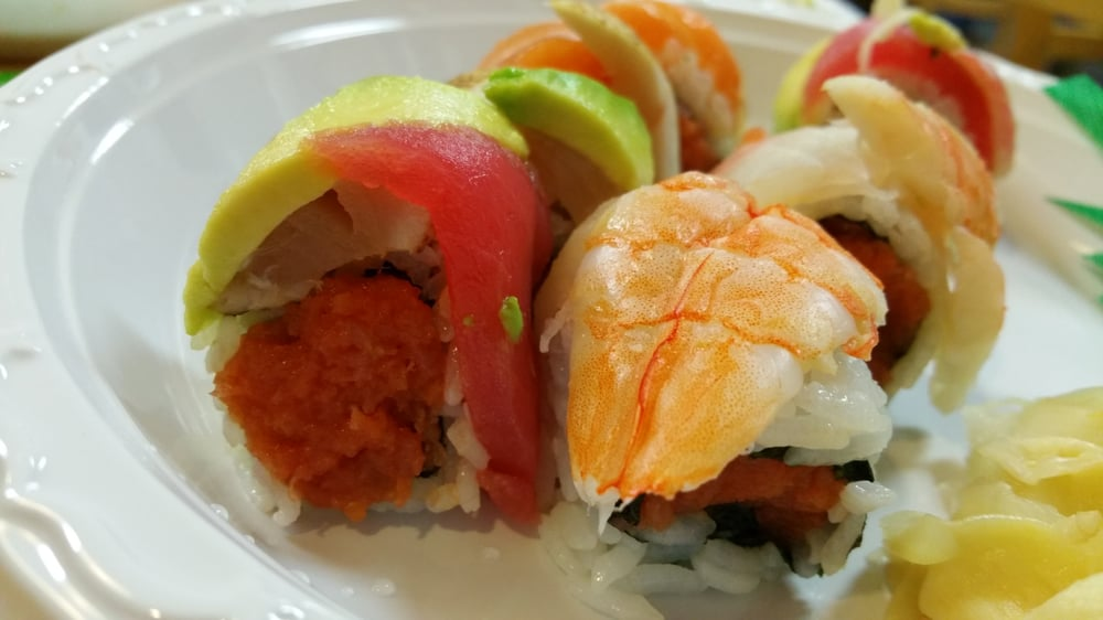 Spicy tuna rainbow already missing a piece yelp for Aiyara thai cuisine