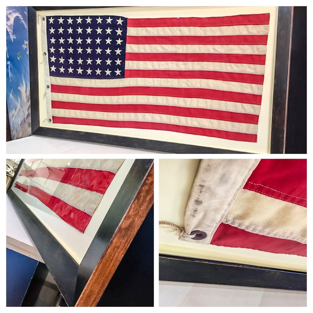 American flag hand sewn onto board and floated with Roma Moulding ...