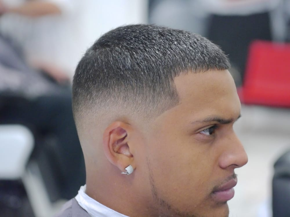 Four On Top Mid Low Fade With Light Thin Beard Cut By Fee