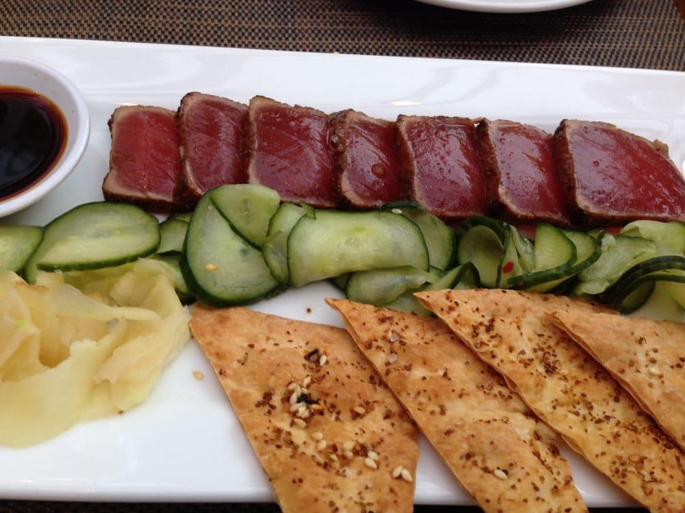 Sushi grade ahi tuna seared rare chilled and sliced for Sushi grade fish near me