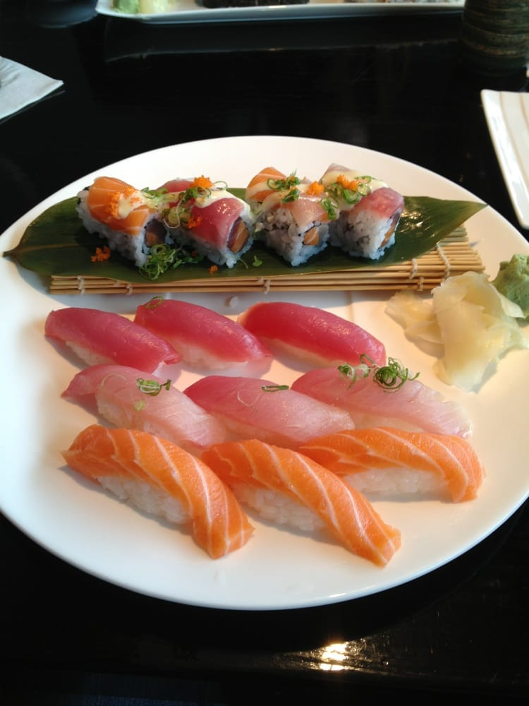 Trio sushi dinner salmon yellowtail tuna and an andy 39 s for Yellowtail fish sushi