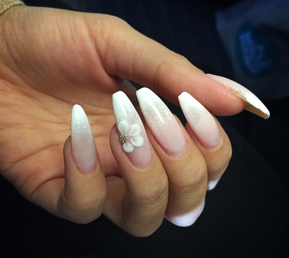 Ombr White To Light Pink On Coffin Shape Nails With 3d Acrylic