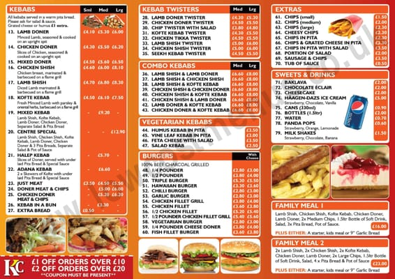 Kebab centre 12 brighton road worthing west for Divan kebab carte