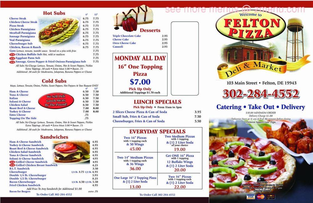 Felton Pizza Deli & Market: 103 W Main St, Felton, DE