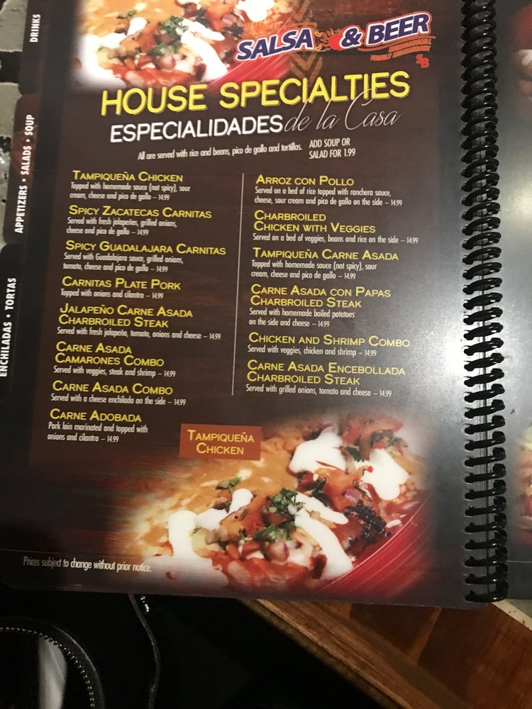 Online Menu Of Salsa Beer Restaurant North Hollywood