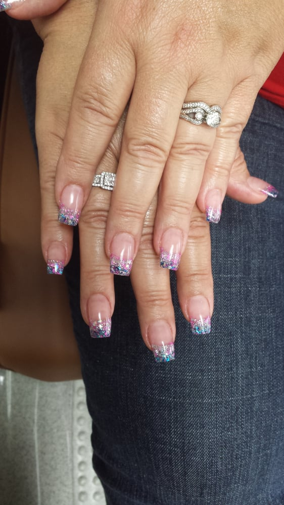 2 Tone Rockstar Nails With Gel Top Coat Yelp