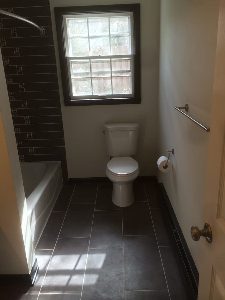 Bathroom remodel with tile floor,custom tile tub surround, drywall ...