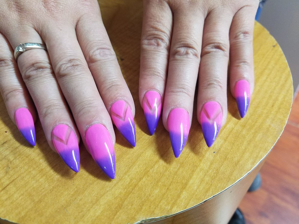 Natural looking stiletto nails with new mood changing color! Color ...