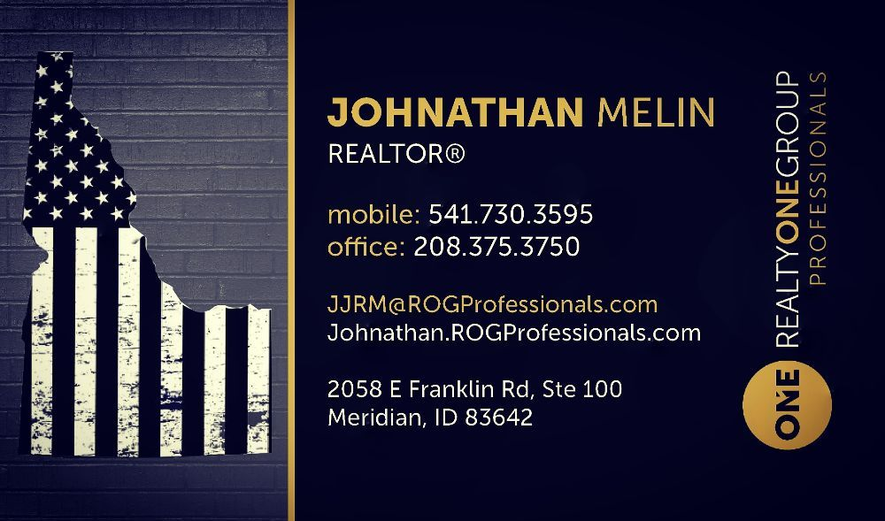Johnathan Melin-Realtor®, Realty ONE Group Professionals | 2058 E Franklin Rd Ste 100, Meridian, ID, 83642 | +1 (327) 540-1024