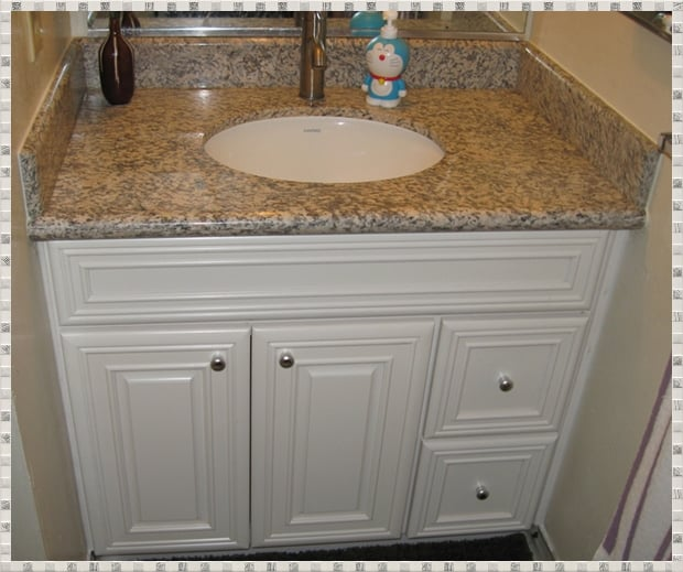 "Installed 36"" Vanity With Ivory Maple Cabinet And"