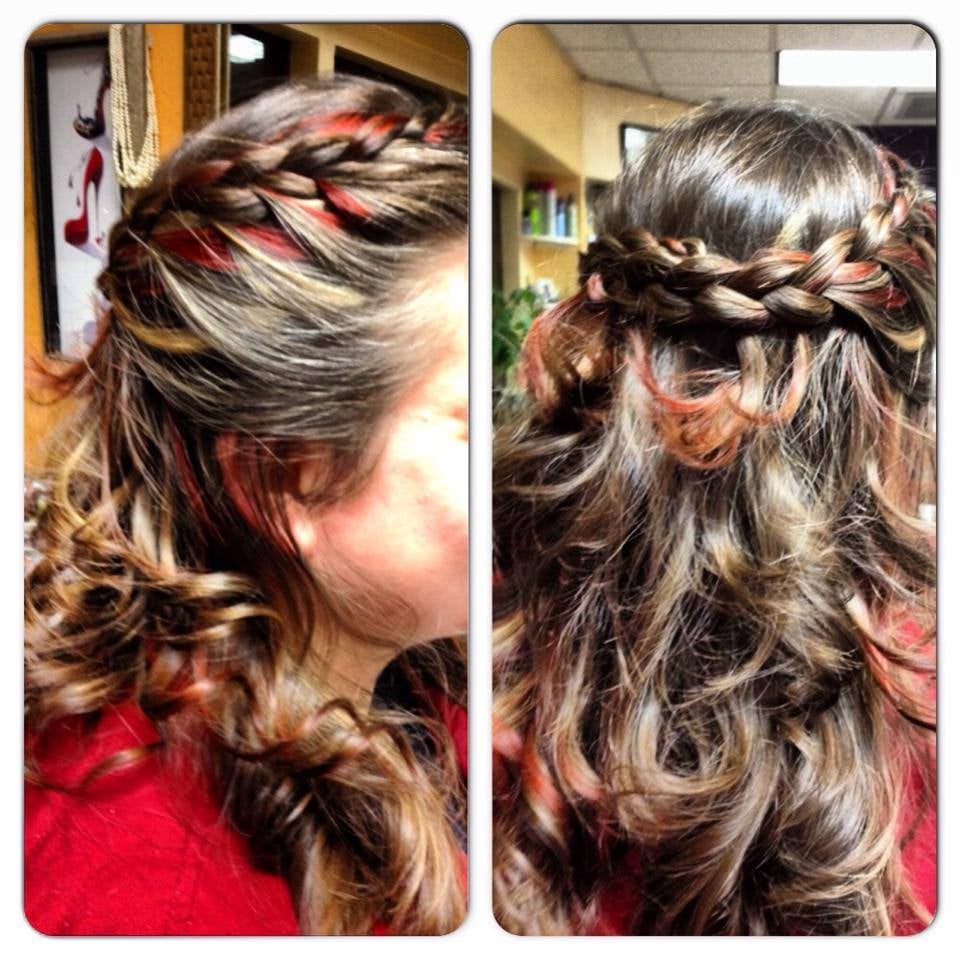 Red And Blond Peekaboo Highlights And A Fun Braid Yelp