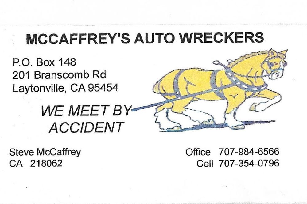 McCaffrey's Laytonville Auto Wreckers: 201 Branscomb Rd, Laytonville, CA