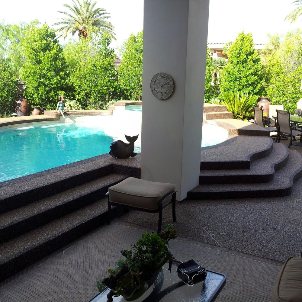 Pool Deck Resurfacing With Pebble Stone Coatings This