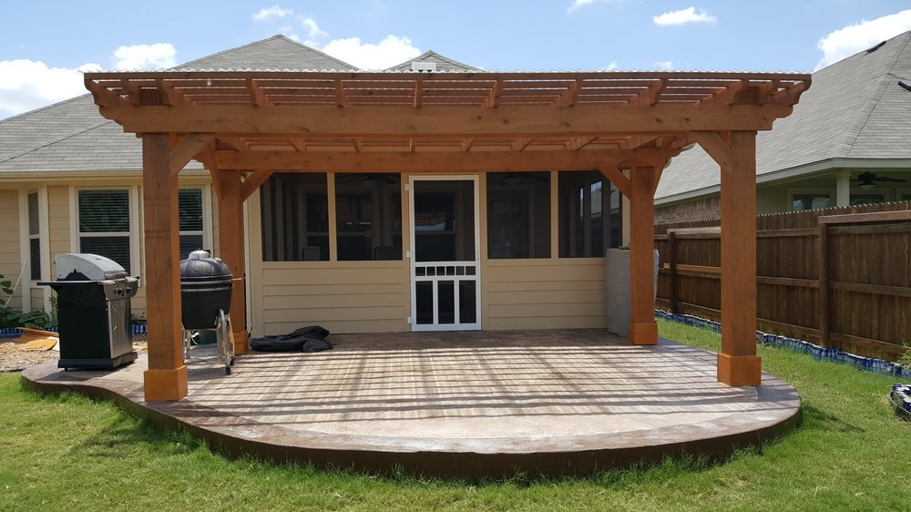 Beau Concrete Patio Extension With Stamp And Stain, Patio ...