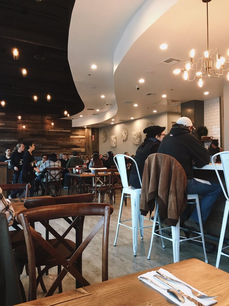 Love the rustic lights and wooden tables :-) - Yelp
