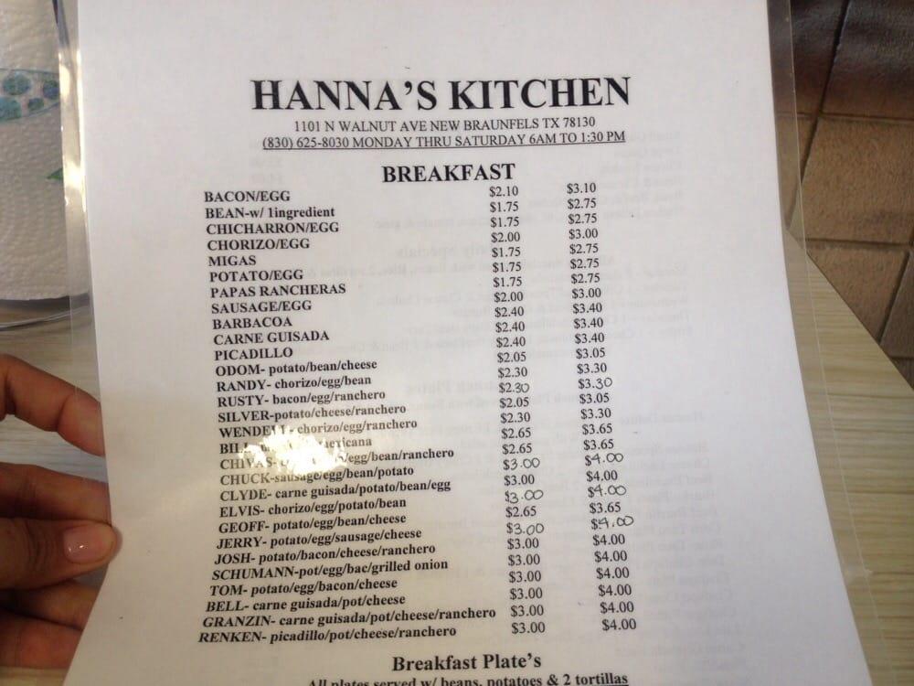 Hanna S Kitchen New Braunfels Tx