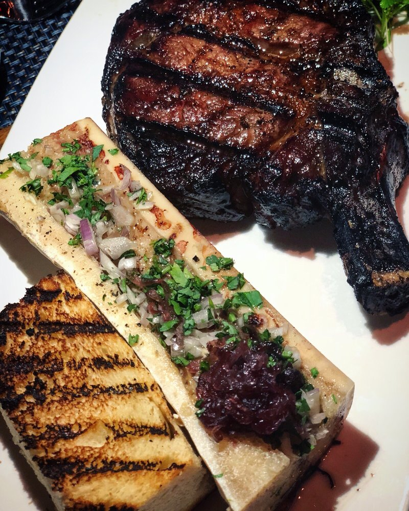 Bone in Ribeye with added bone marrow! Perfectly cooked and