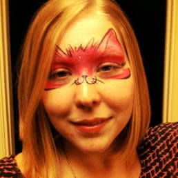 Finished product of my pink cat face painting yelp for Cheap face painting houston
