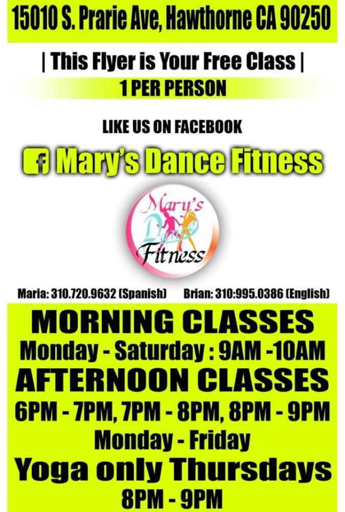 Mary's Dance Fitness: 15010 S Prairie Ave, Hawthorne, CA