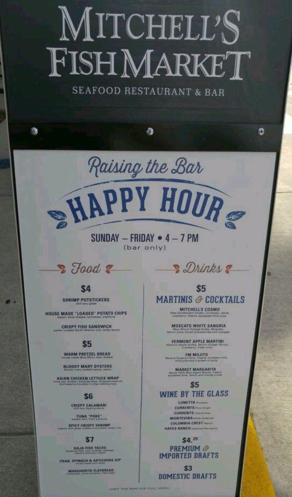 Happy hour deals menu at Mitchell's Fish Market, Westshore mall, S