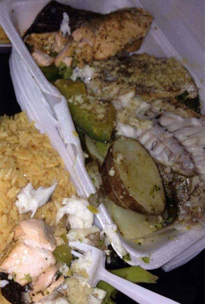 Salmon flounder veggies yellow rice yelp for Fish market bronx