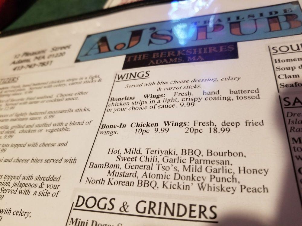 AJs trailside pub: 12 Pleasant St, Adams, MA