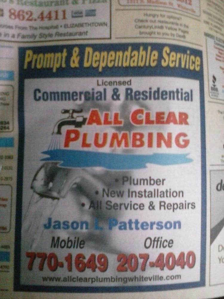 All Clear Plumbing: 327 West Hay St, Whiteville, NC